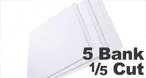 Copier Tabs: 5 Bank - 1/5 Cut