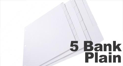 Plain White Copier Tabs: 5 Bank - 1/5 Cut