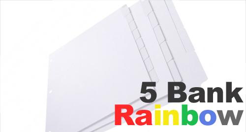Rainbow Color Mylar (Printable) Tabs: 5 Bank - 1/5 Cut