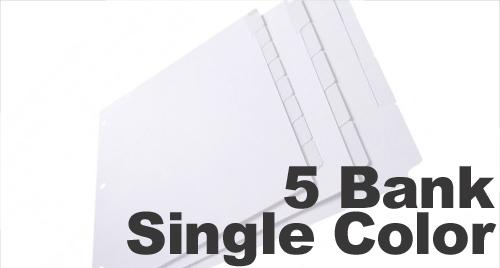 Single Color Mylar (Printable) Tabs: 5 Bank - 1/5 Cut