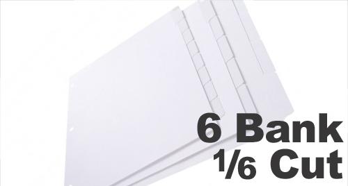 Copier Tabs: 6 Bank - 1/6 Cut