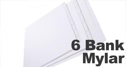 Clear Mylar (Printable) Copier Tabs: 6 Bank - 1/6 Cut