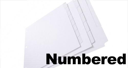 Pre-Printed Numbered Tabs